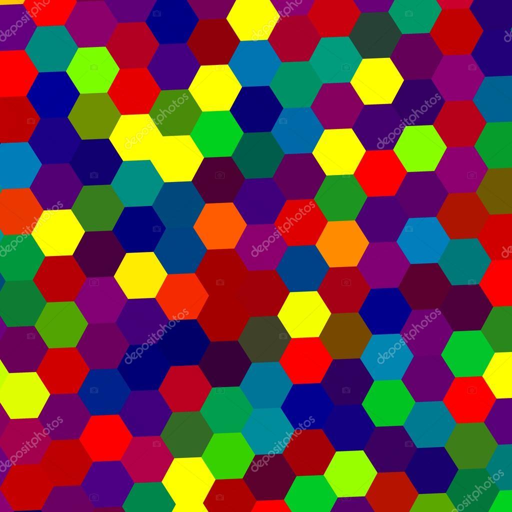 Abstrait Coloré Avec Des Formes Géométriques Hexagone En Forme