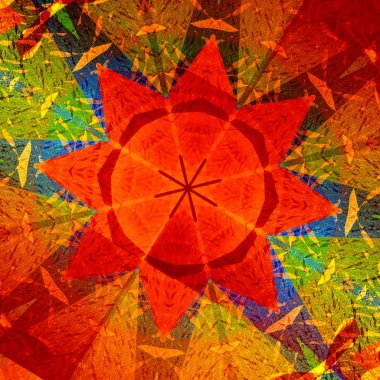 Kaleidoscopic Mandala Circular Abstract Pattern - Colorful Background - Orange Red Generative Art - Concentric Multicolored Geometric Design - Digitally Generated Artistic Star - Symmetrical