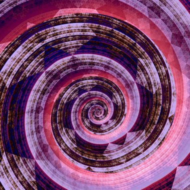 Abstract Fractal Twirl - Purple Pink Background - Digital Artwork Graphic - Geometric Shape - Generative Art - Surreal Artistic Spiral Design - Concept of a Blue Whirl - Circular Motion - Vortex