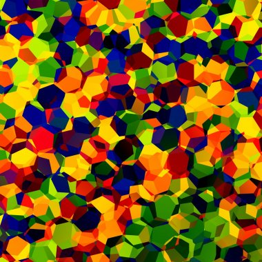 Multicolored Confetti - Rgb - Red Blue and Green Mosaic - Abstract Colorful Chaotic Pattern Background - Fantasy Artistic Image - Geometric Concept Design - Color Art - Rainbow Colours - Hexagonal