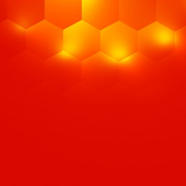 Abstract Orange Background Design - Electric Light Effect - Warm Color Tone - Soft Glow - Minimalistic Modern Illustration - Hexagon Geometry Pattern - Geometrical Bright Illumination - Desktop
