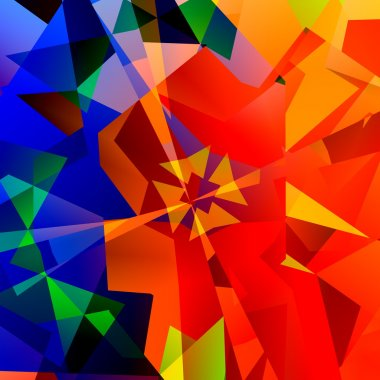 Chaotic Abstract Colorful Art - Red Green and Blue Color - Geometrical Multicolored Triangles Background - Psychedelic Rainbow of Colors - Kaleidoscope Fantasy Illustration - Computer Generated Design