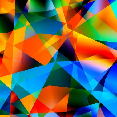 Abstract Colorful Triangle Pattern Background - Multicolored Polygonal Mosaic - Graphic Art Design - Chaotic Digital Modern Illustration - Green Blue Yellow Geometric Fantasy Image - Chaos Concept -