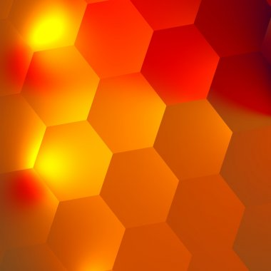 Orange Red Abstract Hexagons Background - Bright Light Effect in Dark - Honeycomb Backdrop - Minimal Style Digital Design - Flat Illustration - Geometric Backgrounds with Hexagonal Patterns - Wall