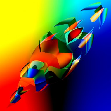 Interesting Colorful Abstract 3d Fish - Art Illustration - Digitally Generated Image of Blue Orange Irregular Shapes - Futuristic Background - Chaotic Digital Red Yellow Green Graphic - Strange Crazy