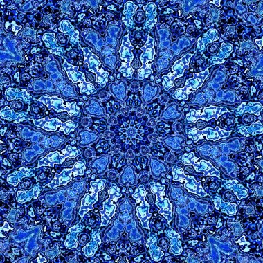 Beautiful Detailed Blue Mandala Fractal. Abstract Background Pattern. Decorative Modern Artwork. Creative Ornate Image. Retro Style Design Element. Digital Fantasy Graphic. Dye Effect. Various Blots.