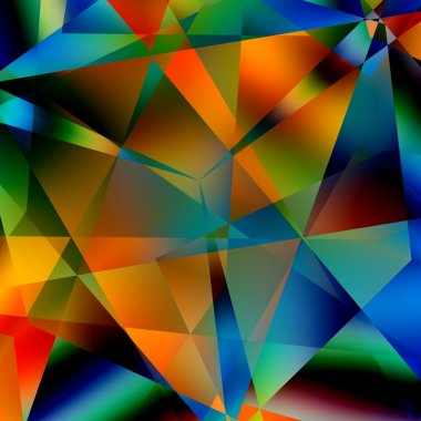 Abstract Colorful Triangular Pattern. Modern Geometric Mosaic Background. Black Blue Yellow Orange Green Colors. Various Colored Triangles. Digital Artistic Decorative Backdrop. Many Shapes.