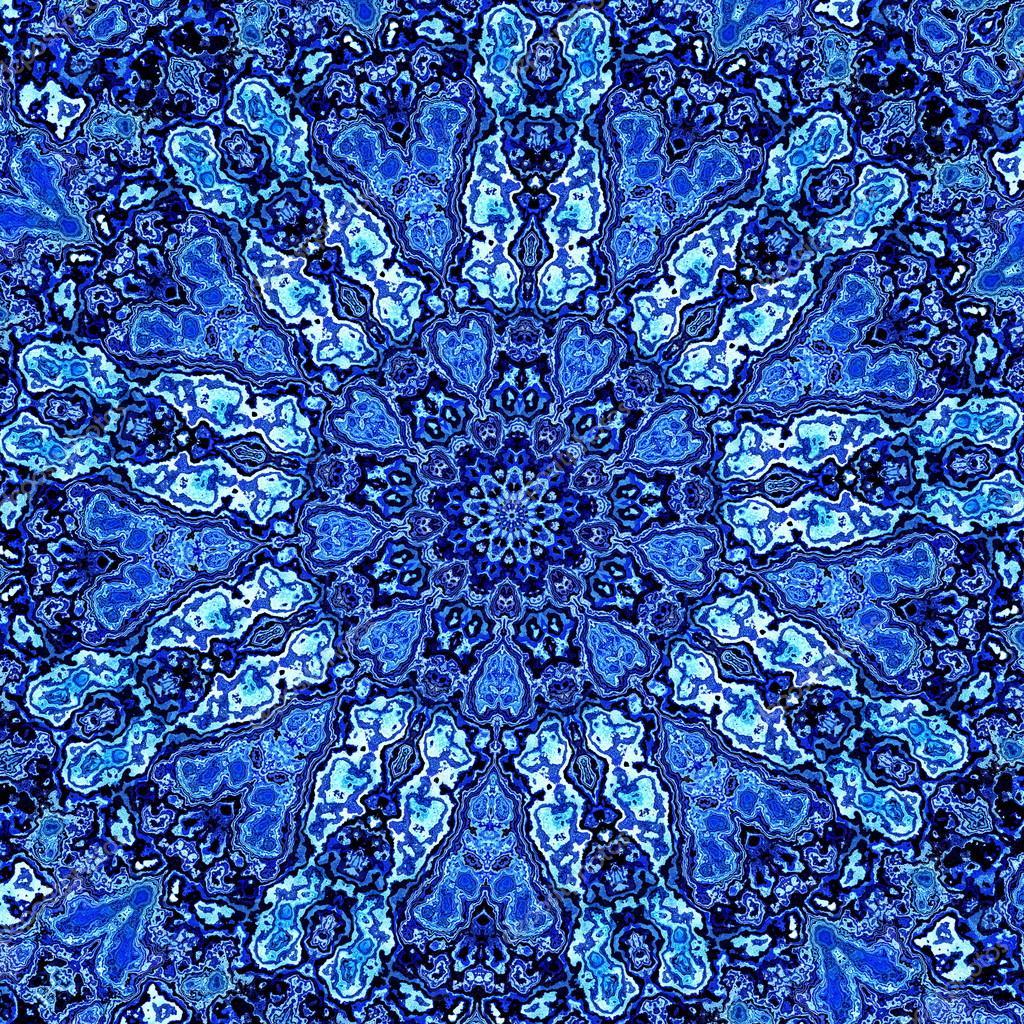 Schöne Detaillierte blaue Mandala Fractal. Zusammenfassung ...