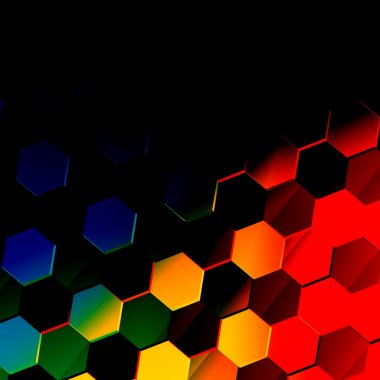 Dark Colorful Hexagonal Background. Unique Abstract Hexagon Pattern. Flat Modern Illustration. Vibrant Texture Design. Black Style. Digital Art. Technology Wallpaper Concept. Red Blue Yellow Colors.