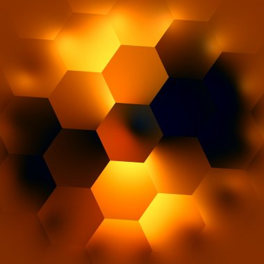Abstract Hexagonal Background. Glowing Light Effect. Beautiful Modern Backgrounds. Soft Hexagon Mosaic. Creative Black Gold Orange Polygonal Backdrop. Polygon Art Graphic. Digital Illustration.