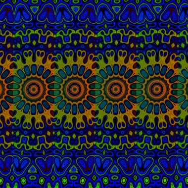 Blue psychedelic pattern background. Cool arab arts. Loony blob pic. Tribal art concept. Odd blue and green colored blots. Modern ornate style. Creative art concept. Unique detailed deco. Graphics.