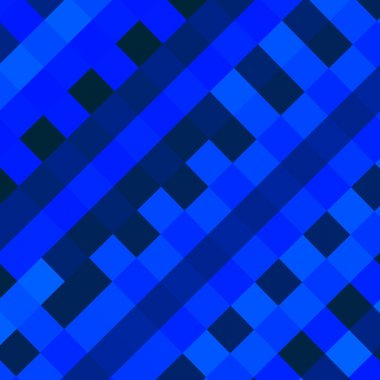 Abstract blue diagonal squares background. Odd minimal pic. Swatch in blue hue. Artificial art style. Multi shape graphics. Blank retro wallpaper. Ornamental tile effect in cold colour. Concept.