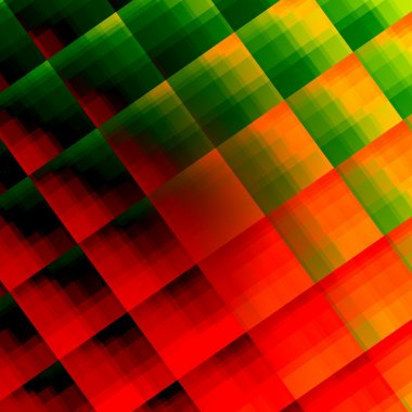 Abstracted reflective squares texture. Odd weird picture. Flat modern design. Ornate vivid colors. Full frame facet iteration. Red, green and yellow tone. Digital creative art. Sharp multi render.