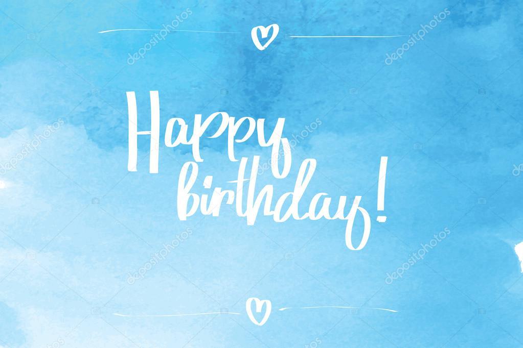happy birthday script blue   u2014 stock vector