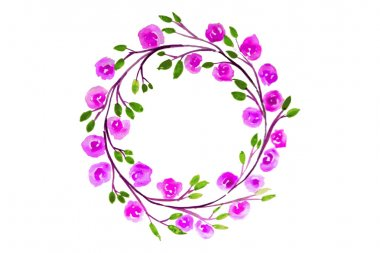 Pink Flower watercolor wreath for beautiful design