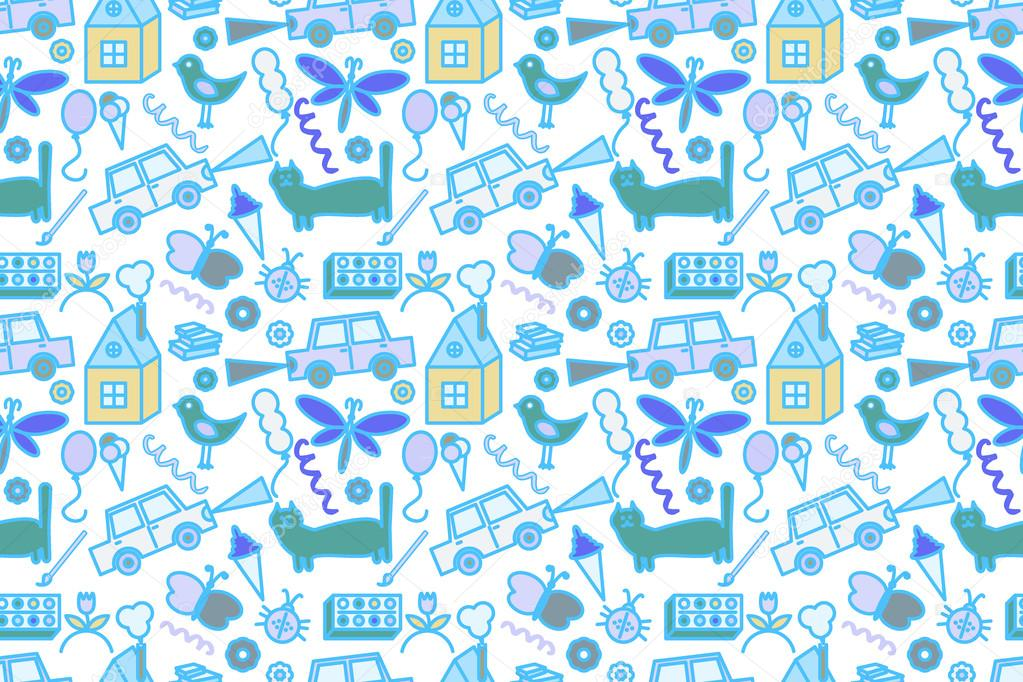 Seamless pattern with doodle children drawing.