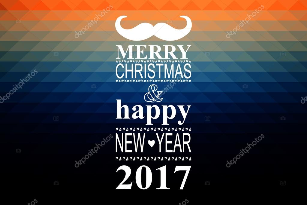 Happy New Year 2017 Hipster Banner With Mustache Stock Vector
