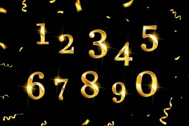 Set of Elegant Gold Colored Metal Chrome numbers. golden numbers 1, 2, 3, 4, 5, 6, 7, 8, 9 0 logo design icon