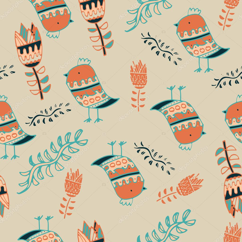 Cute colorful floral seamless pattern with owl and bird