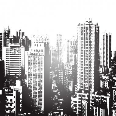 Panorama of the city cartoon illustration in black and white - vector clip art vector