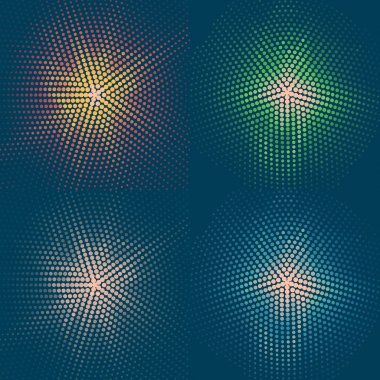 set of four coloured flashes on a blue background