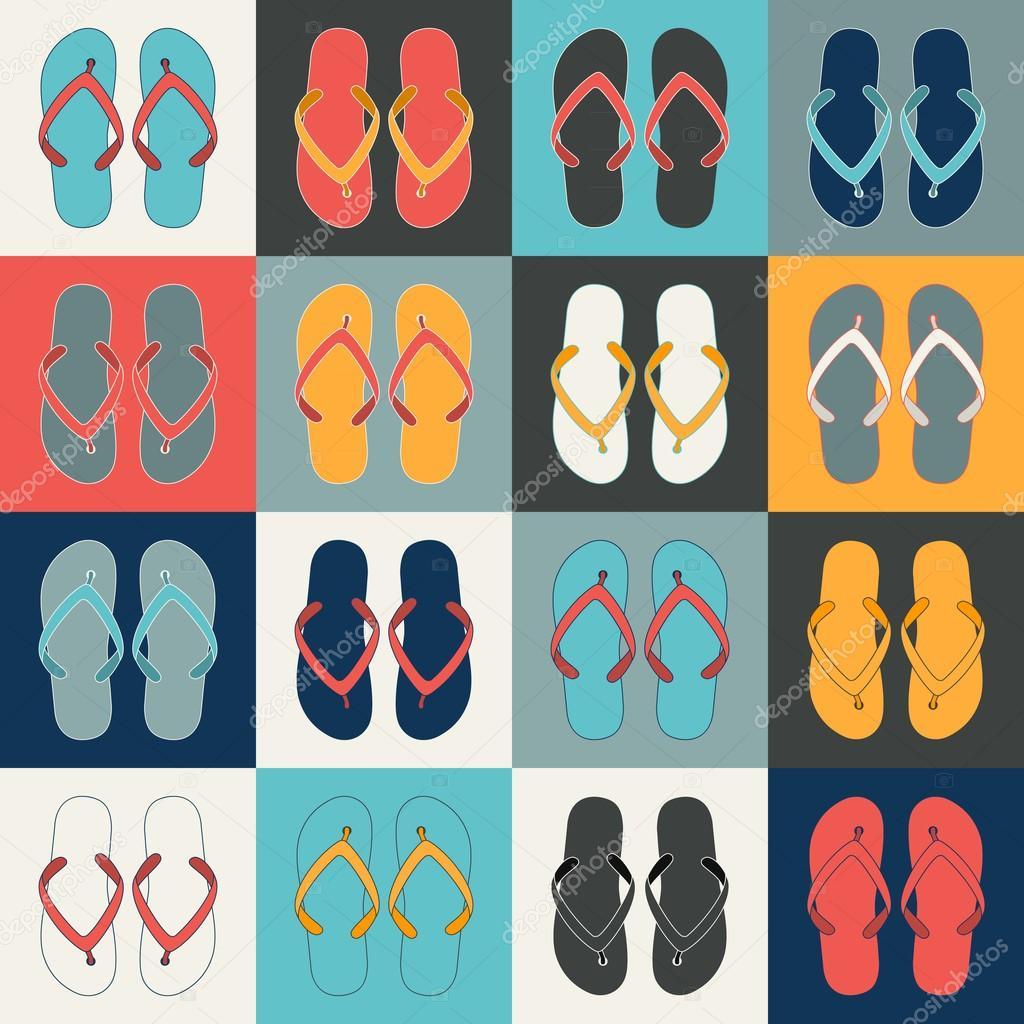 06e8198a0 Pop Art style flip flops in a colorful checkerboard design. — Stock Vector