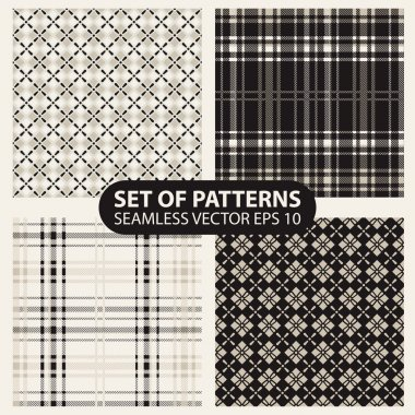 set of seamless knitted patterns graphics.