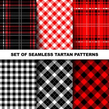 Set of seamless tartan patterns.
