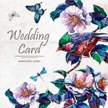 Botanical Wedding card in vintage style