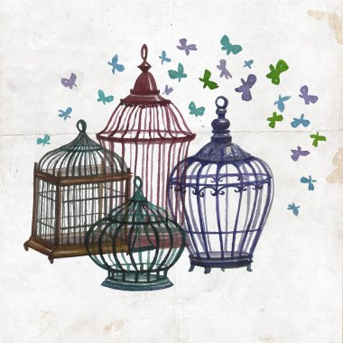 Watercolor birdcages collection