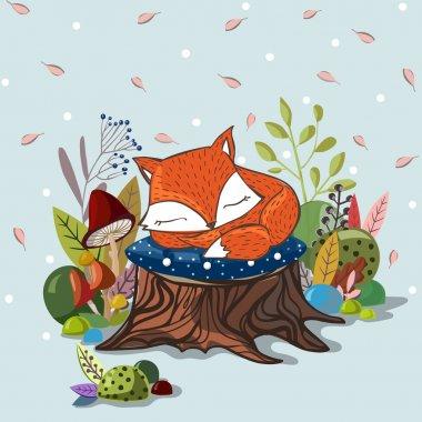 Slipping baby fox