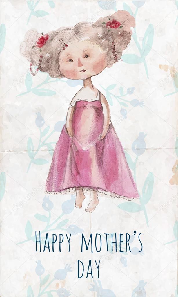 Открытка с днем рождения маме рисунок акварелью, днем рождения