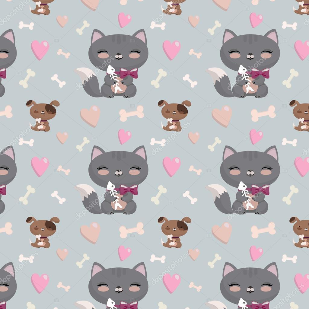Fondo: pantalla de gatos animados | Patrón sin fisuras con perros y ...