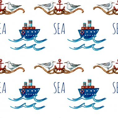 Seamless watercolor pattern with cartoon blue boats, red anchors, ropes and gulls. Kid's elements for textile, vocation card, banner, invitation card, kids party. Childish background. stock vector