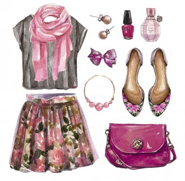 Watercolor collage of girl clothing and accessories