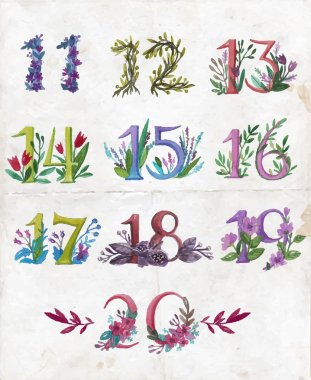 Numbers with season leaves and flowers.
