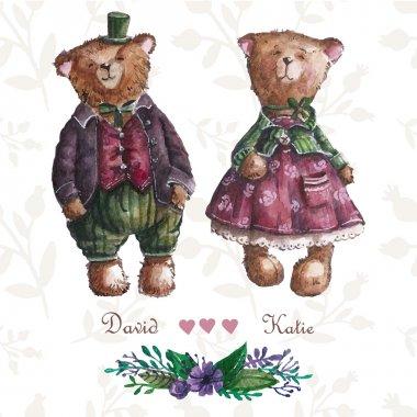 Cute teddy bears couple.