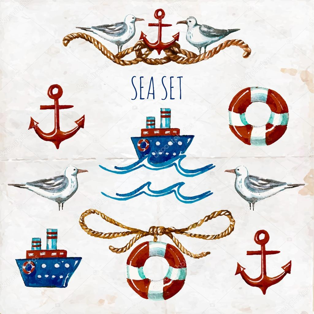 Nautical Symbols And Meanings Collection of watercol...