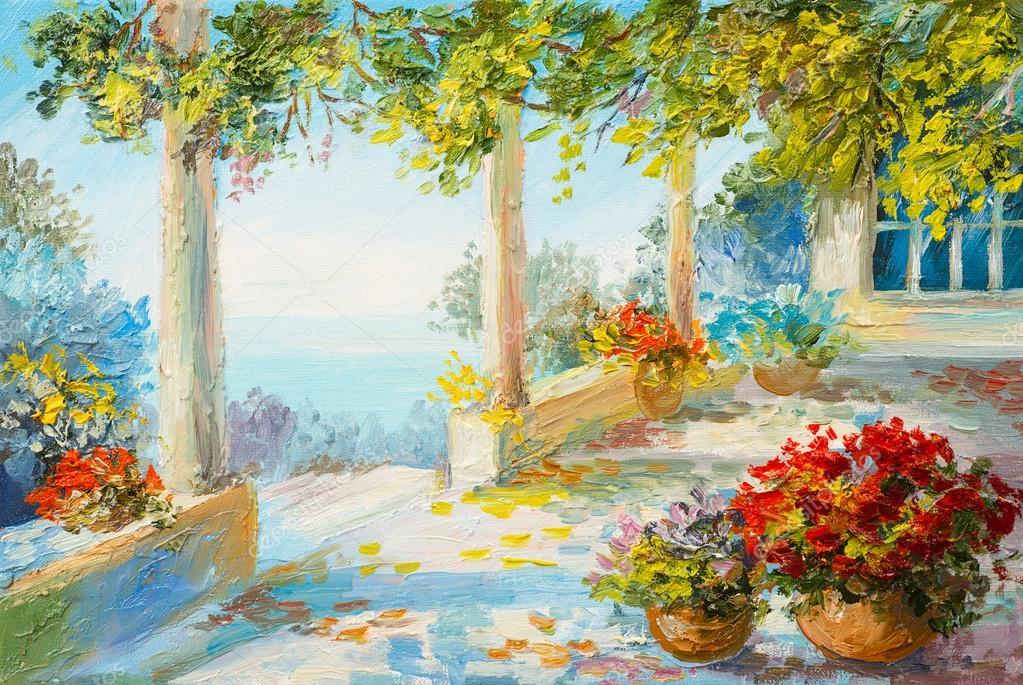 Oil painting landscape - terrace near the sea, flowers