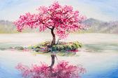 olejomalba krajina, orientální třešeň, sakura na jezeře