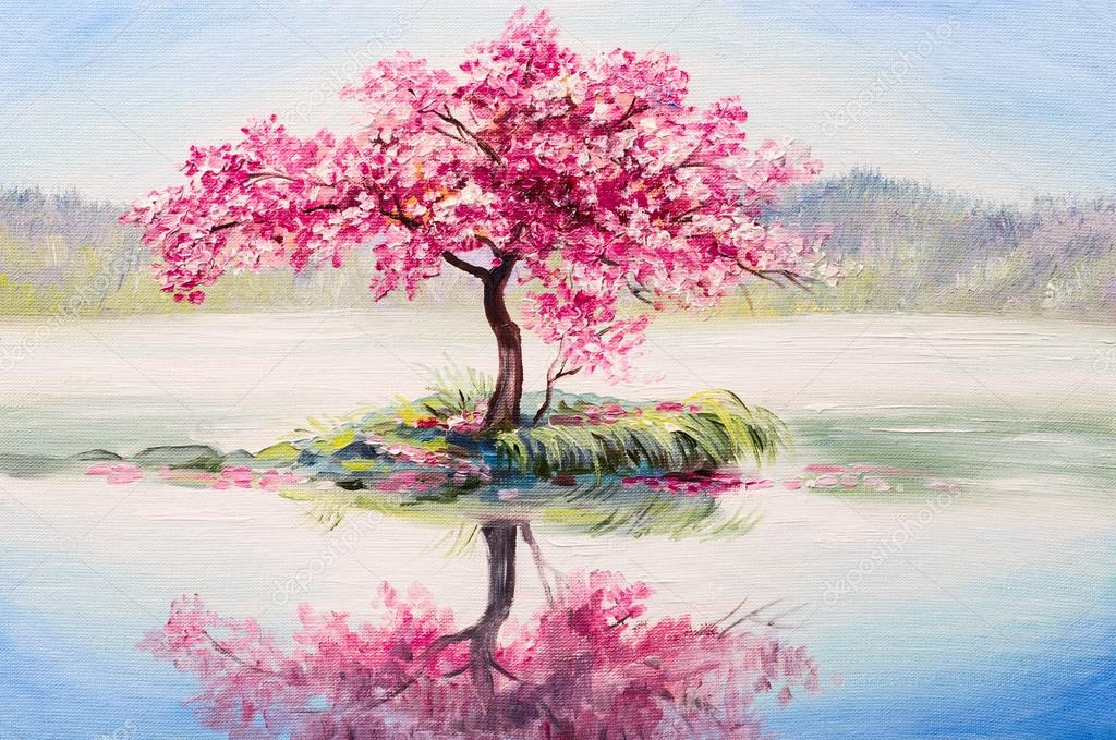 oil painting landscape, oriental cherry tree, sakura on the lake