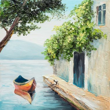 Oil painting, gondola in Venice, beautiful summer day in Italy, abstract drawing