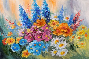 oil painting - abstract bouquet of spring flowers, colorful watercolor