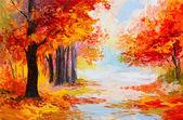 olejomalba krajina - barevné podzimní Les