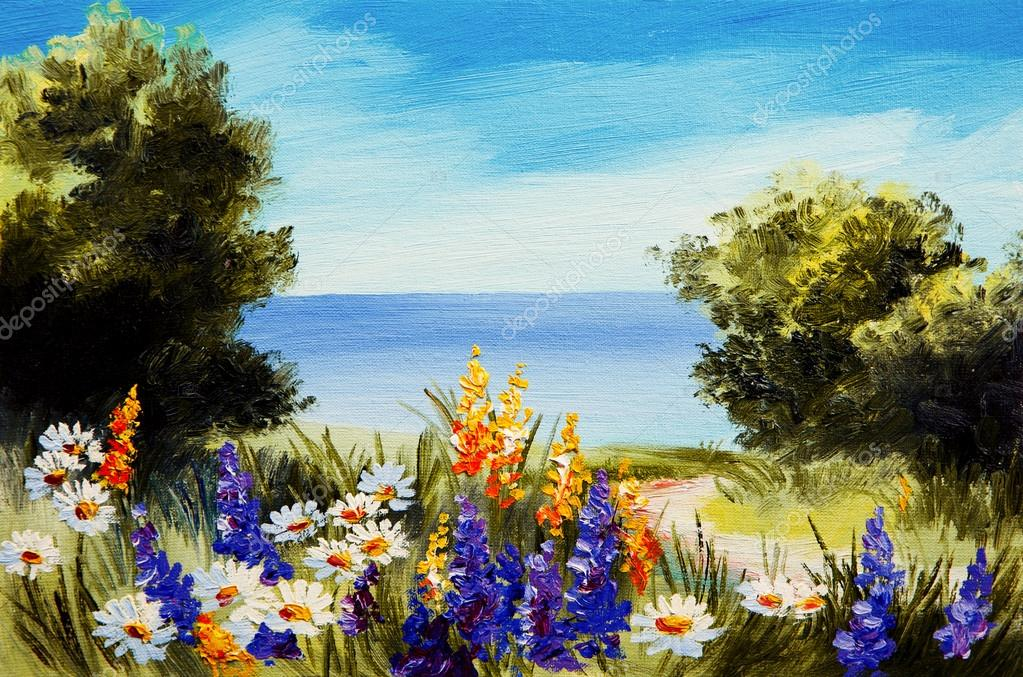 oil painting flowers near the sea, camomile field