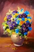Fényképek Olajfestmény tavaszi tarka virágok vázában vászon, műtárgy