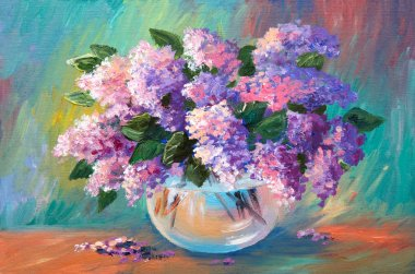 Oil painting of spring lilac  in a vase on canvas, artwork