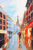 Pár na ulicích Paříže na pozadí Eiffelova věž, abstraktní malba olej