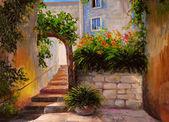 Olejomalba, ulice plná květin, barevný akvarel
