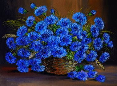 Oil painting of blue flowers  in a vase, art work